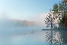 Autumn Landscape At Dawn Of Council Lake In Fog, Michigan's Upper Peninsula, USA