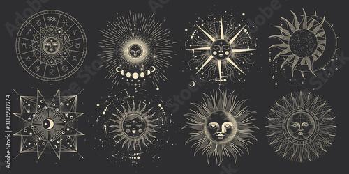 Fototapeta  Vector illustration set of moon phases