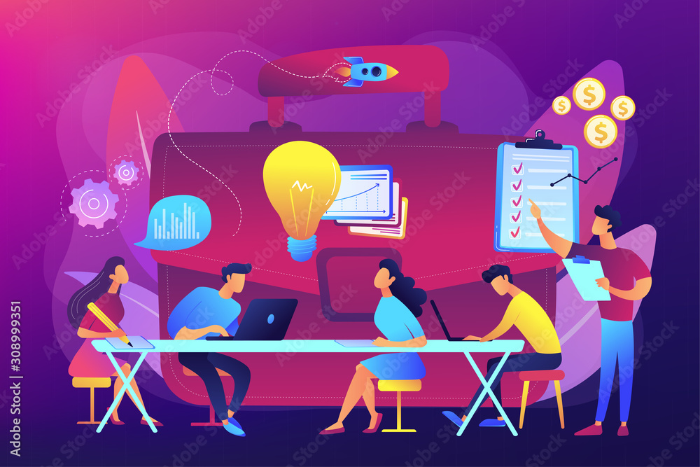 Fototapeta Colleagues meeting. Team brainstorming. Corporate training. Business briefing, teamwork task discussion, business strategy communication concept. Bright vibrant violet vector isolated illustration