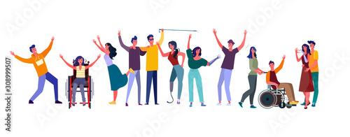 Obraz Diverse people set. Disabled men and women community. Flat vector illustrations. Diversity, communication concept for banner, website design or landing web page - fototapety do salonu