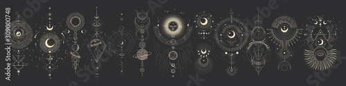 Photographie Vector illustration set of moon phases