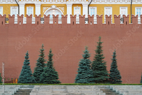 Photography of Red Kremlin Wall Canvas Print
