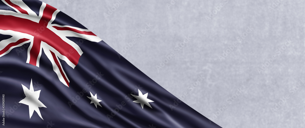Fototapeta Australia National Day. Australian Flag with stripes and national colors. Background illustration. Copy space.
