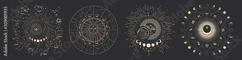 Vector illustration set of moon phases Wallpaper Mural