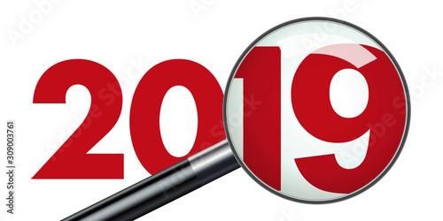 Concept de présentation d'un bilan d'entreprise pour l'année 2019 qui est vu au Fototapete