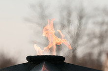 The Eternal Flame, A Monument In The Open Air. Flaming Flame. In Memory Of Those Killed During World War II.