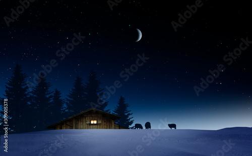 fototapeta na drzwi i meble Beleuchtete Holzhütte in einer Winternacht