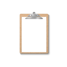Vector 3d Realistic Brown Craft Clipboard With Blank Paper, Metal Clip Icon Closeup Isolated On White Background. Design Template For Notes, Mockup, Checklist, Questionnaire, Reminders