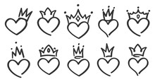 Hand Drawn Crowned Hearts. Doodle Princess, King And Queen Crown On Heart, Sketch Love Crowns. Wedding Card Logo, Doodle Hearts In Crowns. Isolated Vector Symbols Illustration Set
