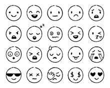 Hand Drawn Emoji. Doodle Emoti...