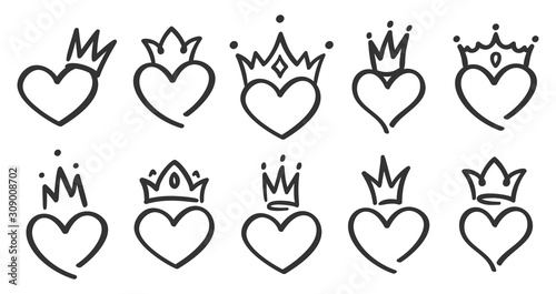 Photo Hand drawn crowned hearts