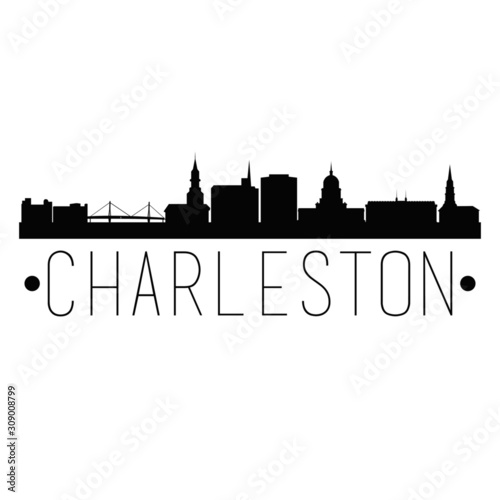 Fotografiet Charleston South Carolina City Skyline Silhouette City Design Vector Famous Monuments