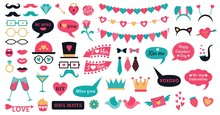 Photo Booth Props Valentine Day. Love Hearts Prop, Kiss Lips And Heart Shapes Bunting. 14 February Or Wedding Romantic Hipster Photo Props. Isolated Vector Symbols Set