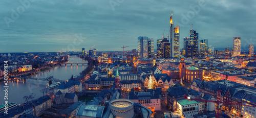 Panoramic view on Frankfurt am Main at dusk, Germany Canvas Print