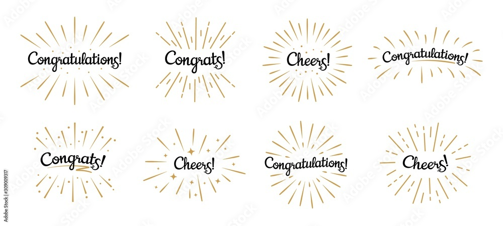 Fototapeta Congratulations lettering. Congrats label, cheers celebration and congratulation text badges with golden burst. Congrats quotation card. Isolated vector symbols set
