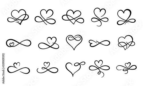 Infinity love flourish. Hand drawn heart decorative flourishes, love ornate tattoo design and infinity hearts. Endless love logo, wedding card heart print. Isolated vector symbols set