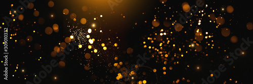 Golden abstract bokeh on black background. Holiday concept Canvas Print
