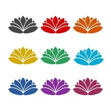 Lotus Flowers Color Icon Set I...