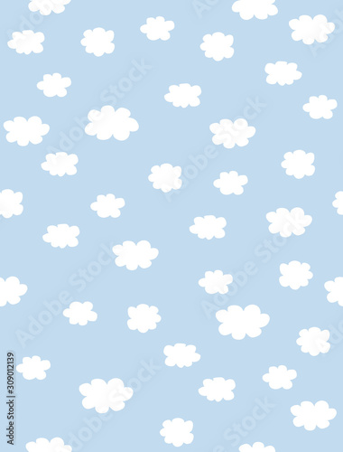 Plissee mit Motiv - Lovely Seamless Vector Pattern with White Fluffy Hand Drawn Clouds Isolated on a Light Blue Background. Simple Blue Cloudy Sky Vector Design. Pastel Color Loveley Nursery Art with White Clouds .  (von Magdalena)