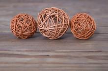 Balls On Wooden Background