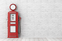 Red Retro Gas Pump. 3d Rendering