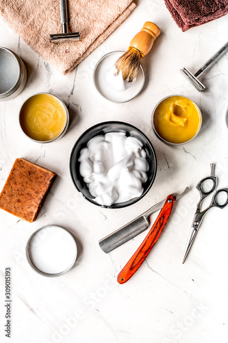 Obraz na plátně  barbershop for men with tools on white background top view