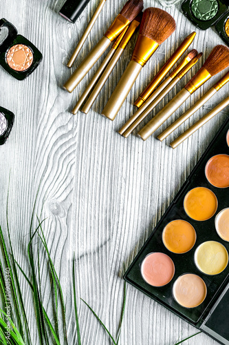 Fotografie, Obraz  Beauty and fashion concept with decorative cosmetics on table background top vie
