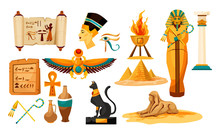 Set Of Isolated Egyptian Or Egypt Symbols Or Icon.