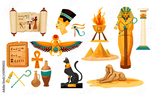 Photo Set of isolated egyptian or Egypt symbols or icon.