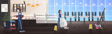 Couple Cleaners Using Mop And Vacuum Cleaner Mix Race Man Woman Janitors In Uniform Floor Care Cleaning Service Concept Modern Cafe Interior Horizontal Full Length Sketch Vector Illustration