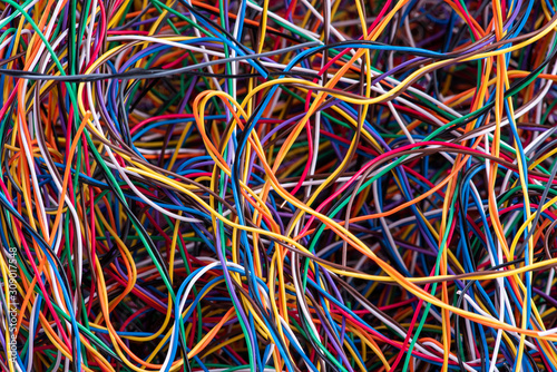 Scrap colorful electrical telecommunication wire close-up, recycling industry Canvas