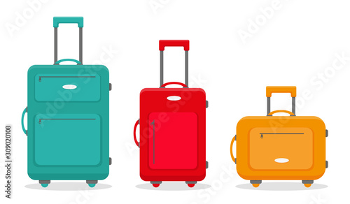 Three travel suitcases. Vector illustration.