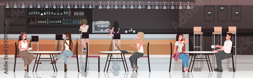 Obraz people sitting at cafe tables mix race visitors drinking coffee discussing during meeting modern restaurant interior horizontal full length vector illustration - fototapety do salonu
