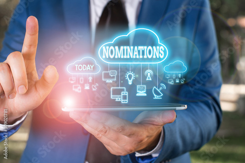 Writing note showing Nominations Wallpaper Mural