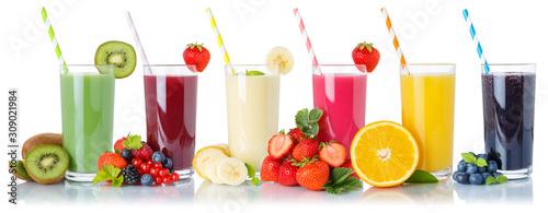 Photo Set of fruit smoothies fruits orange juice drink straw in glass isolated on whit