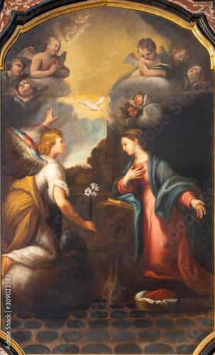 COMO, ITALY - MAY 8, 2015: The painting of Annunciation in church Santuario del Santissimo Crocifisso Wallpaper Mural