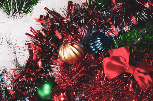 Obraz tinsel of different colors, and Christmas toys, mixed. - fototapety do salonu