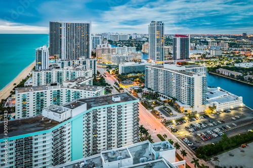 Hollywood beach and city, Florida, USA. Wallpaper Mural