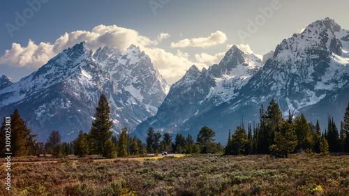 Obraz Peaks of the Teton Mountain range in Grand Teton National Park, Wyoming - fototapety do salonu
