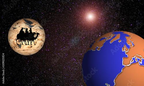 Ilustración que representa la salida de los Reyes Magos dispuestos a llegar a la Tierra Tablou Canvas