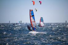 Windsurfers And Kitesurfers On...