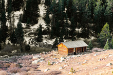 Independence Pass Mining Townsite Building Log Cabin In White River National Forest In Colorado With Green Pine Trees And Snow Mountain In Autumn