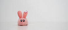 Cute Pink Rabbit Toy Isolated On White Background