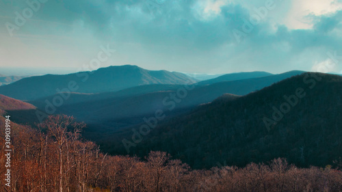 Sunset over mountains in Shenandoah National Park along the Appalachian Trail Wallpaper Mural