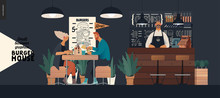 Burger House -small Business Graphics - Visitors And Bartender -modern Flat Vector Concept Illustrations -young Couple Eating Burgers At The Table In Burger Restaurant, Interior, Waiter At Bar Counter