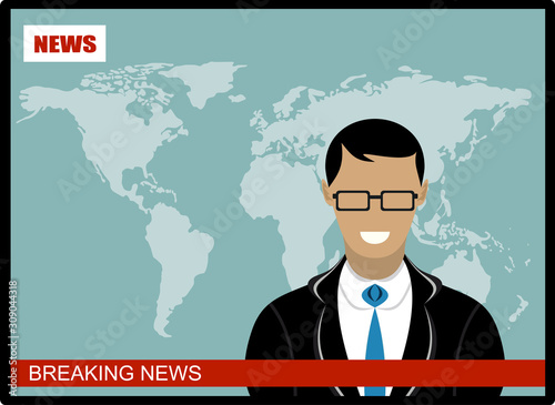 Breaking news - News announcer in the studio - vector Canvas Print
