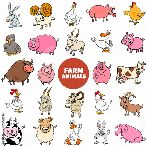 Fototapeta cartoon farm animal characters large set obraz