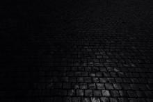 Black Background. Old Cobblest...