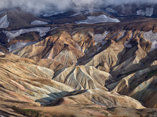 Reolite Mountains. The Aerial Shot Was Taken In Iceland From A Cessna Plane