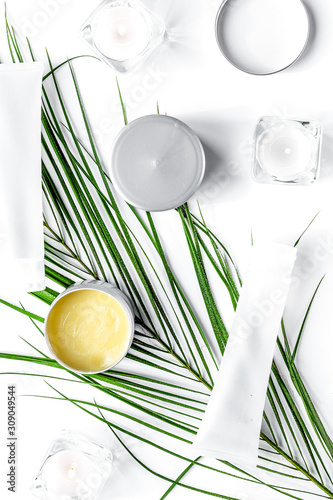 Fotografie, Obraz  set of decorative cosmetics on wite table background top view